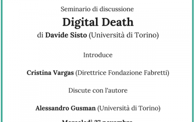 Digital Death – Seminario di discussione con Davide Sisto – 27 novembre 2019