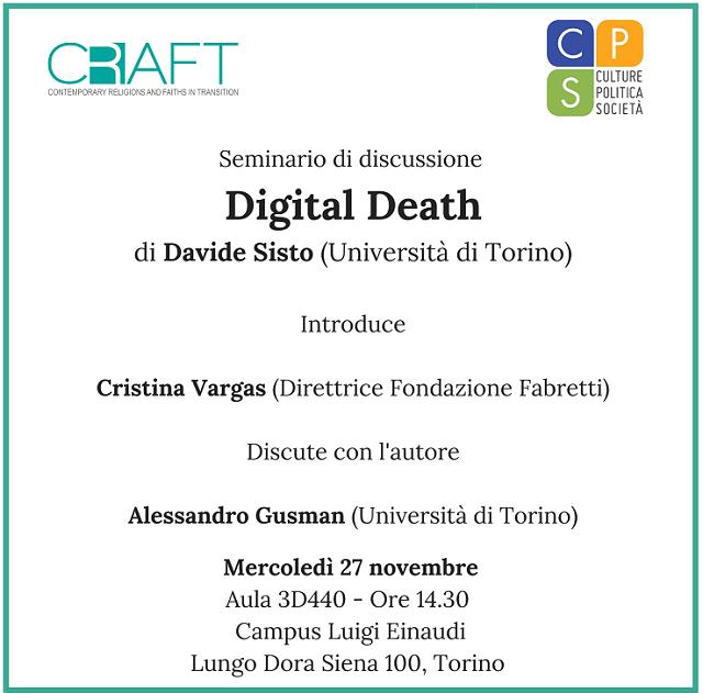 Digital Death – Seminario di discussione con Davide Sisto – 27 novembre 2019